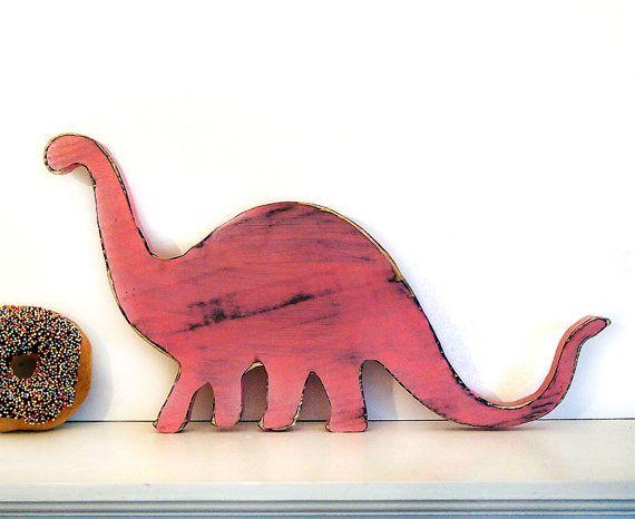 Brontosaurus Dinosaur in Blush Pine Wood Sign Wall by ThePineNuts, $28.00