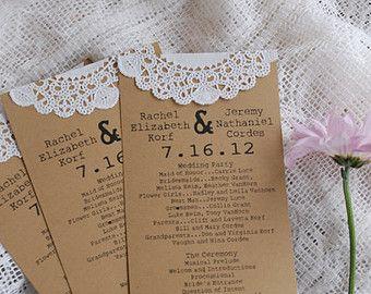 Programmes de mariage pour le napperon dentelle Vintage personnalisé ou Menus - Save the Date - automne, automne, Noël - fête de fiançailles - Escort Card