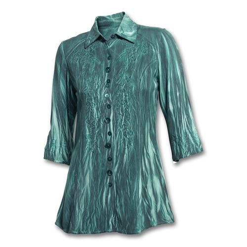 Embroidered Teal Double-Dyed Tunic