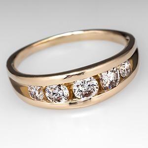 Vintage Arched Channel Set Diamond Ring 14K Gold - EraGem