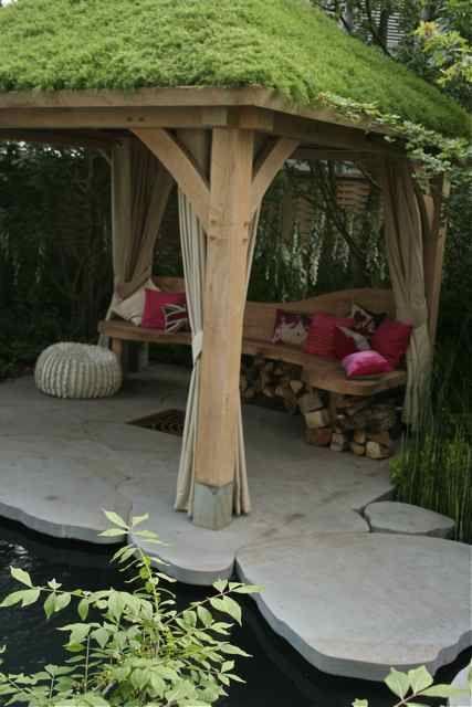 Green roof on pavilion gazebo. Living roof. Let be cool.