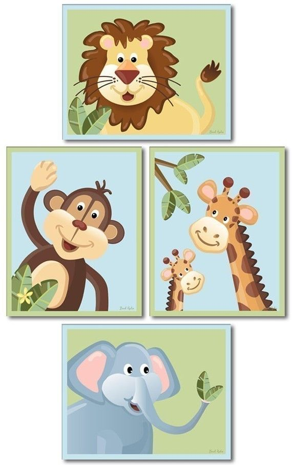 Set of 4 Nursery Art Prints  / JUNGLE SAFARI by smileywalls, $24.90