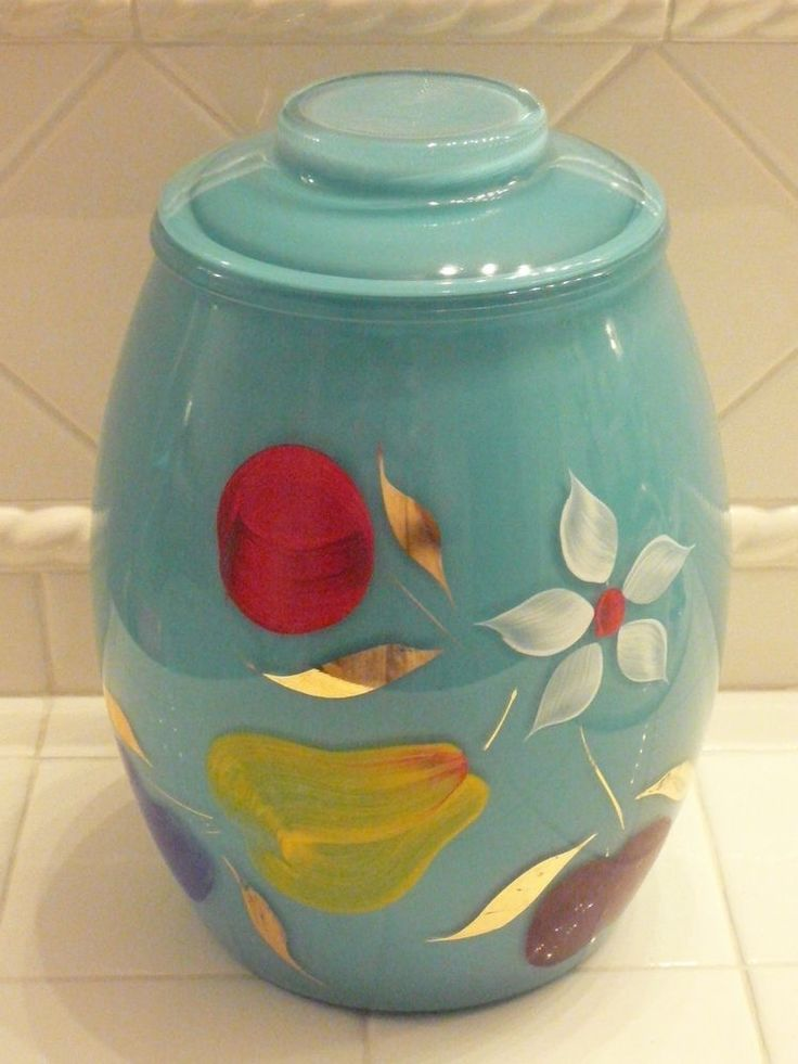 VINTAGE TURQUOISE Cookie Jar  Bartlett Collins - BEAUTIFUL Color!!!