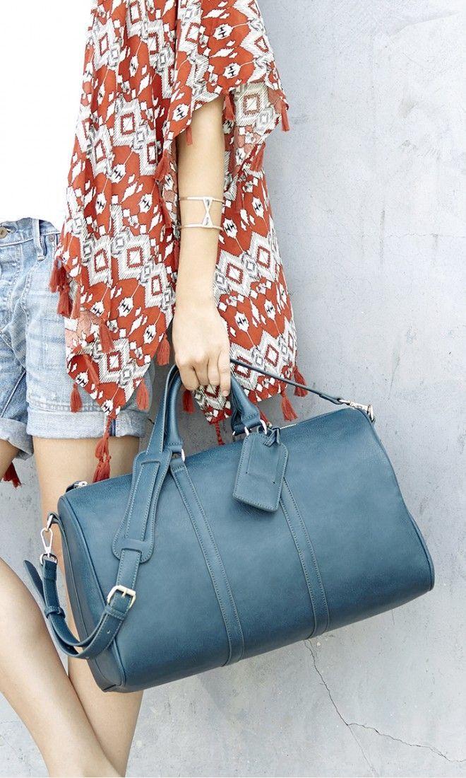 Teal weekender bag