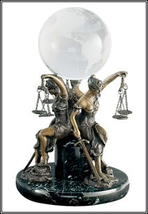 Statue - Seated Lady Justice Trio w/Globe