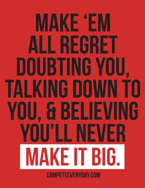 "Let them watch you make it big. Make 'em regret ever doubting you motivational, 4"" x 4"" sticker."
