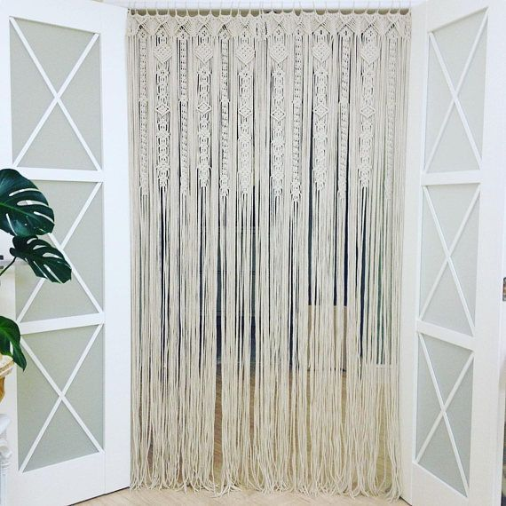 Large Macrame Door Curtains Of 2 Or 1 Panels Macrame Window Etsy Macrame Door Curtain Curtains Door Curtains
