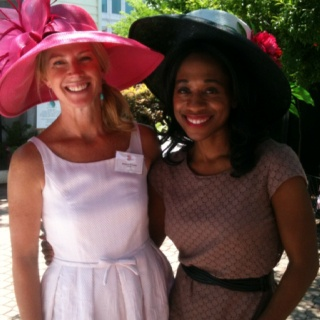 I emceed the inaugural Mother & Me Tea benefiting @StLouiseHouse   this weekend. They give homeless mothers and their children homes! (Kimberly Richards, Tea Co-chair and me rocking Derby hats)