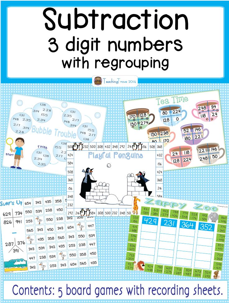Three-Digit Subtraction with Borrowing Game | Game ...