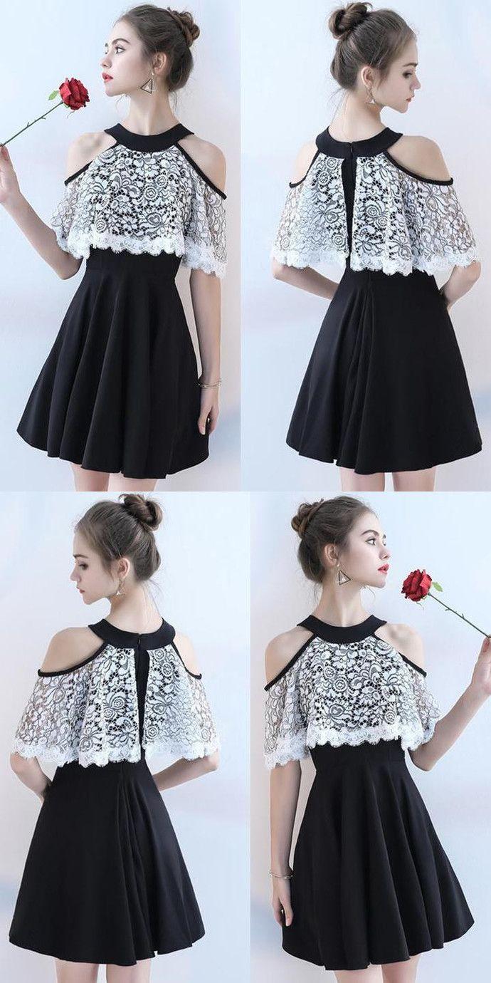 Homecoming chiffon dress, a-line knee-length homecoming dress, homecoming lace