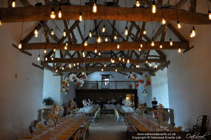 A stunning barn wedding in Southrop, with our Edison bulb canopy over the long tables