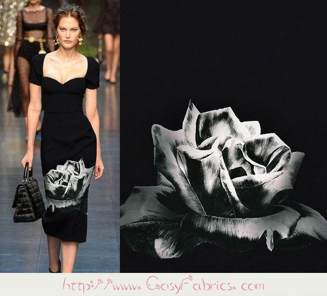Zwart en wit Bloemenprint Zijde Satijn stoffen van Fabrichome op DaWanda.com