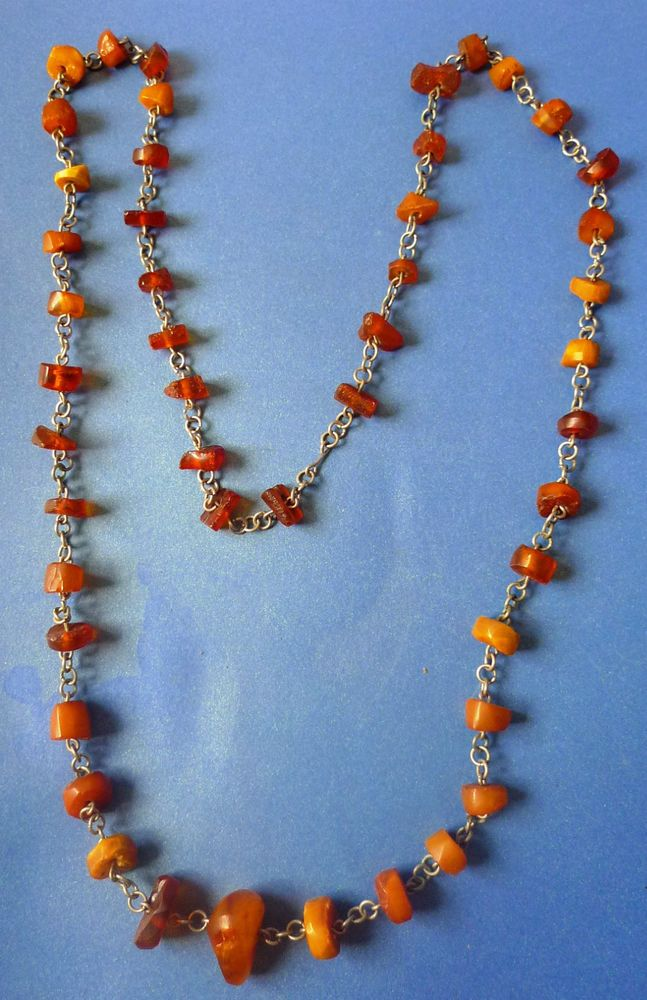 Vintage Jewelry Natural Baltic Amber gemstone Charm Necklace Beads 48psc. Chain