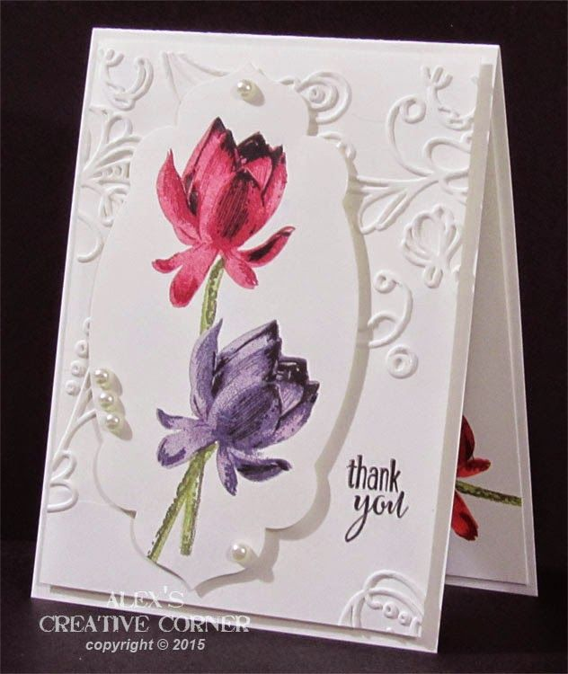 """three shade effect. I had the best results when using black as my darkest colour.Stamps: Lotus Blossom - SU Embossing folder: Elegant Lines - SU Die: Apothecary Accents - SU Misc.: 5 x 3/16"""" pearls, foam mounting squares"""