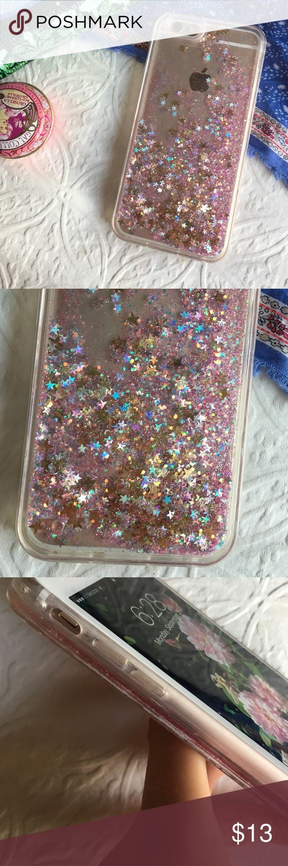 ⭐️glitter phone case⭐️ ✨brand new ✨pink and gold sparkle water case ✨for iphone 6/6s ✨protects back of phone from scratches ✨not from listed brand-only for exposure ✨no lowballing please ✨ships next day excluding sundays Make an offer! tags: sparkles, cot