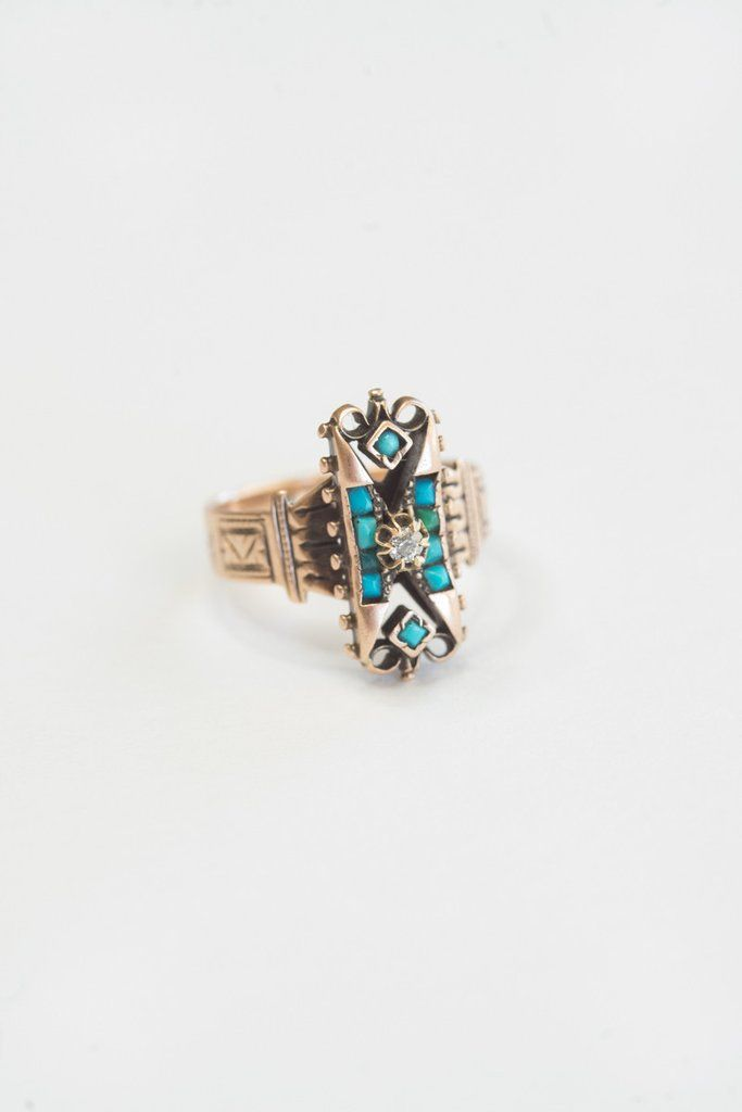 Victorian Etruscan Revival Diamond and Turquoise Ring