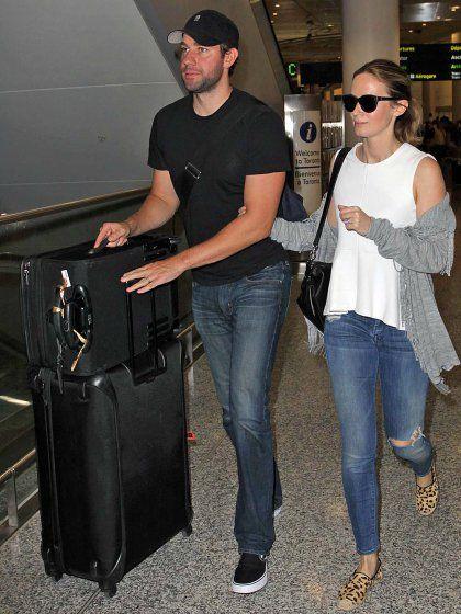 John Krasinski and Emily Blunt arrive in Toronto on Thursday.