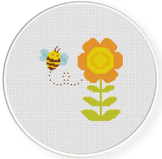 Bee and Flower Cross Stitch Pattern