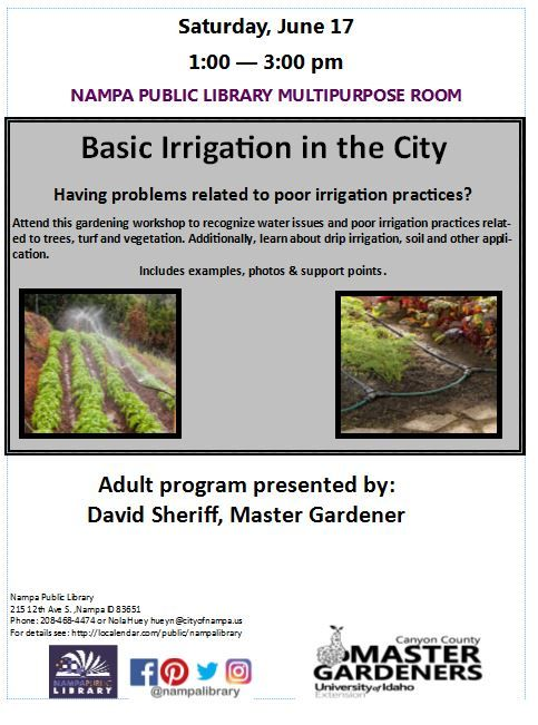 Attend this gardening workshop to recognize water issues and poor irrigation practices related to trees, turf and vegetation.  Also, learn about drip irrigation, soil and other applications.    Saturday, June 17th from 1-3pm In the Multipurpose Room