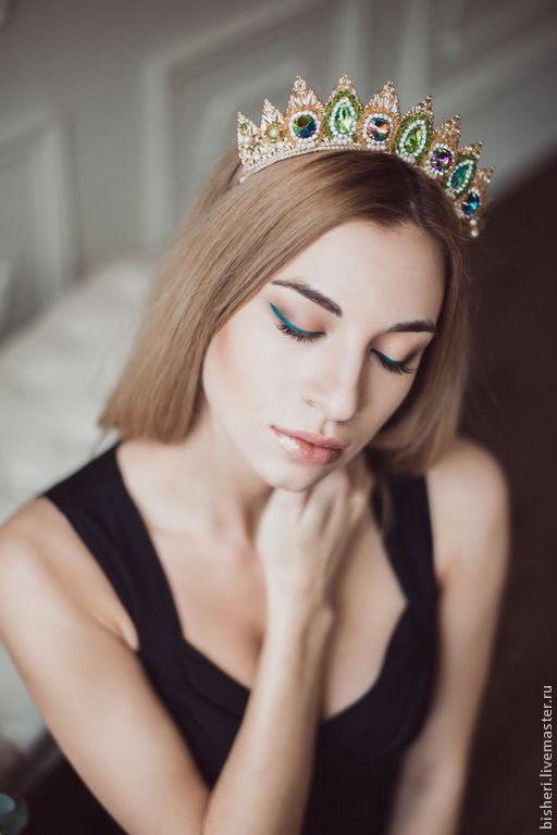 Купить Корона-ободок - золотой, корона, диадема, царское украшение, ободок для волос, корона барокко