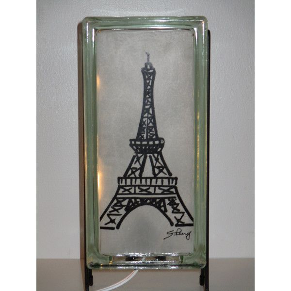 Eiffel Tower Lamp Upcycled Handmade Glass Block Night Light For 65 Liked On Polyvore Featuring Home Eiffel Tower Lamp Handmade Lighting Handmade Lamps