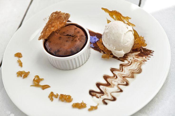 Warm chocolate shuffle served with vanilla ice cream!