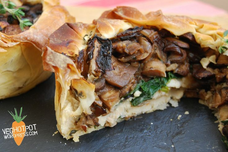 Layered Mushroom and Cannellini Bean Pie