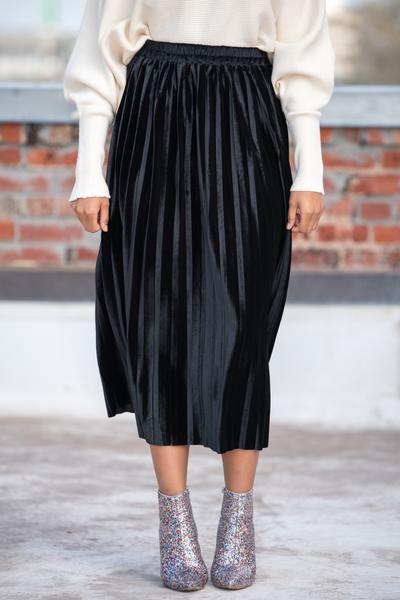 e7c7aad4f6c824 Velvet pleated midi skirt IMS1909 black in 2019 | Moments to ...