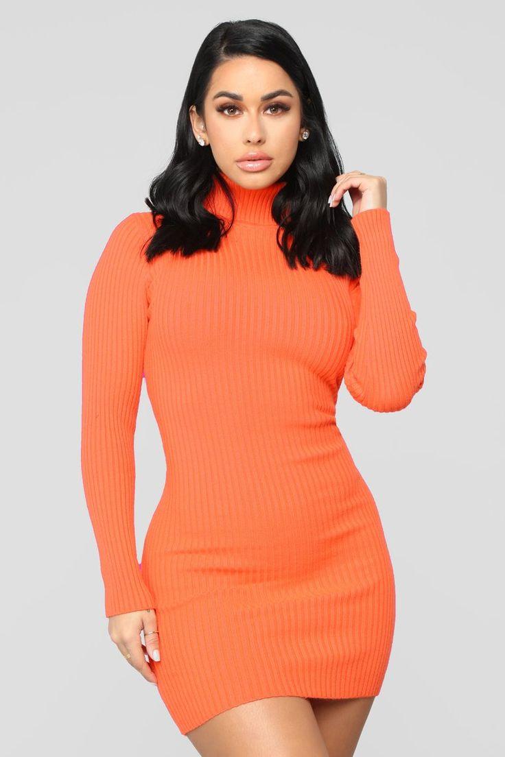 My Favorite Sweater Dress Orange Fashion nova outfits