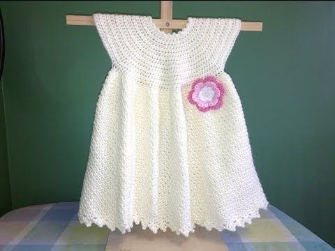 Tutorial Vestido Niña Bebé Crochet o Ganchillo Baby Girl Dress (English Subtitles) - YouTube