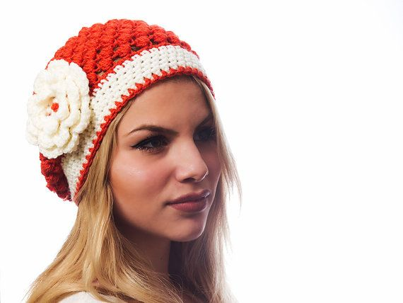 Beanie hat / Puff stich woman hat in red  orange by elenis4you, €21.00