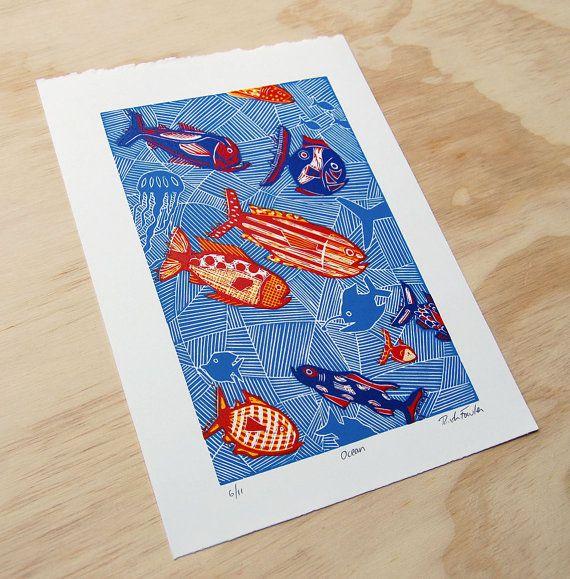 Impression de Lino, poisson Art Print, décor hawaïen, océan oeuvre, Biologie Marine, Surf Art, poissons tropicaux Print, impression de Relief, Wanderlust imprimer