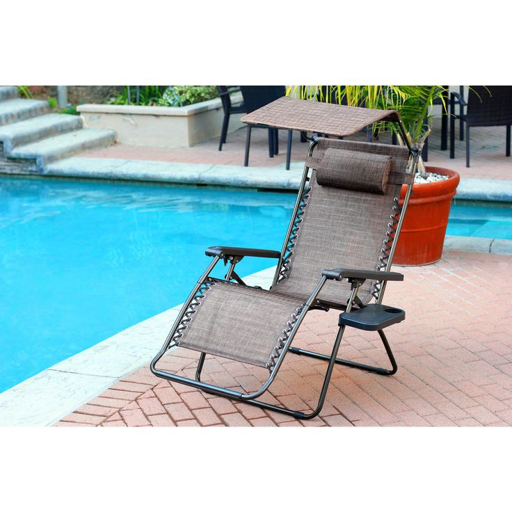 oversized brown zero gravity chair with sunshade and drink tray - Zero Gravity Lounge Chair