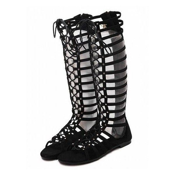 Back Lace Up High Leg Flat Gladiator Sandal ($49) ❤ liked on Polyvore featuring shoes, sandals, lace up flat shoes, gladiator sandals, laced up gladiator sandals, laced sandals and lace up flat sandals