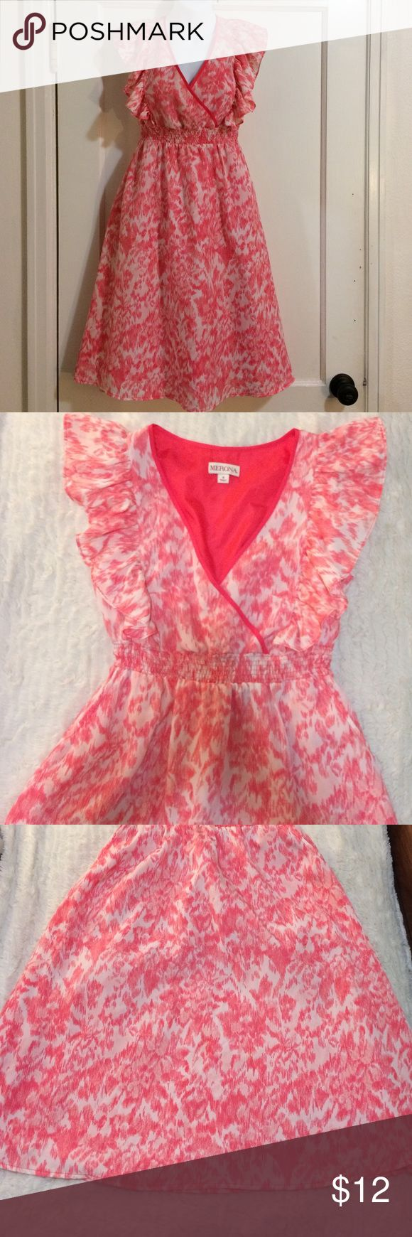 Merona pink & white girly ruffle dress size 4 Very cute pink & white abstract patterned dress. V neck with ruffle detail. Very girly and flirty. Flattering with elastic empire waist and flowy. Size 4. Arm pit to pit measures approximately 16.5 inches and total length from shoulder to hem measures approximately 39-40 inches. It has pockets and is fully lined!       (1-43) Merona Dresses Mini