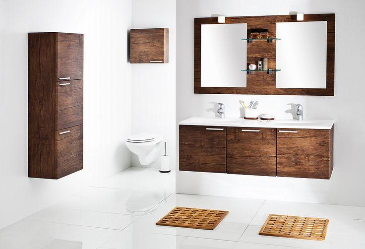 Modular KTS bathroom furniture collection with wood pattern / łazienka  #bathroom #furniture #washbasin #wood #cabinet