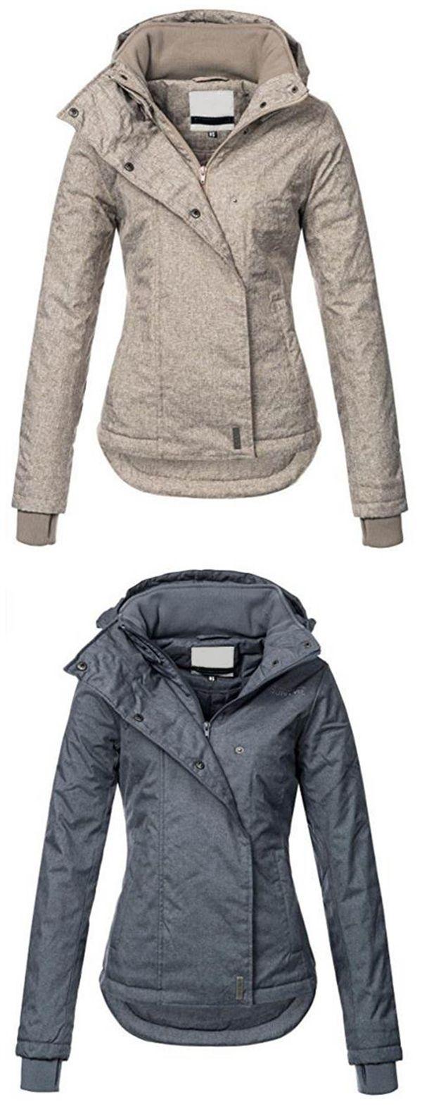 Ericdress Slim Plain Zipper Hooded Jacket