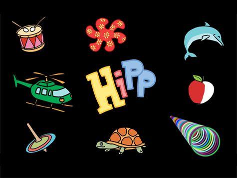 Hipp är ett färgglatt trycka - hända program med mycket tydliga bilder. Man kan lägga in egna bilder och på så sätt skapa en egen bilderbok!