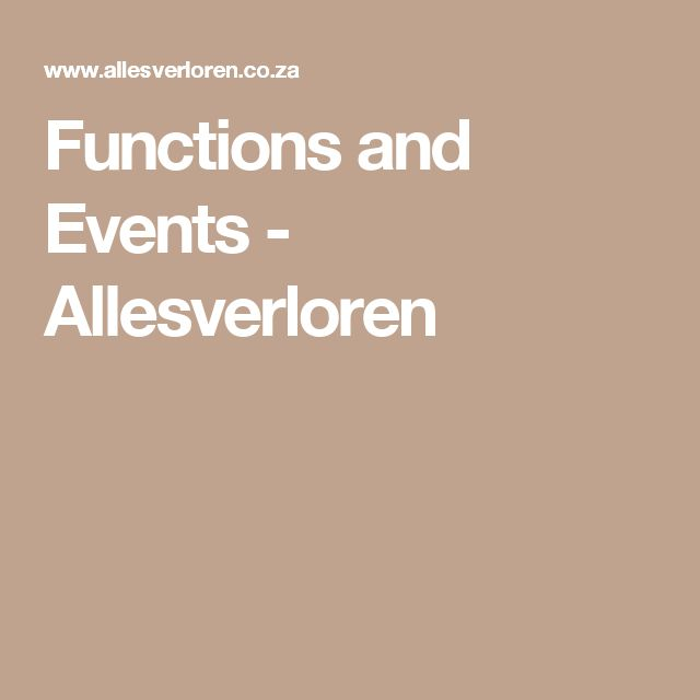 Functions and Events - Allesverloren