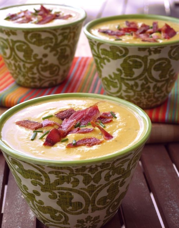 Butternut-Bacon-Boursin Soup from NoblePig.com If you love Boursin cheese this is a great way to incorporate it into a meal. Makes it so flavorful. #soup