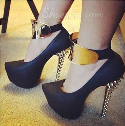 Chic Black Suede Rivets Decoration Stiletto Heel Metal Ankle Strap High Heel Shoes