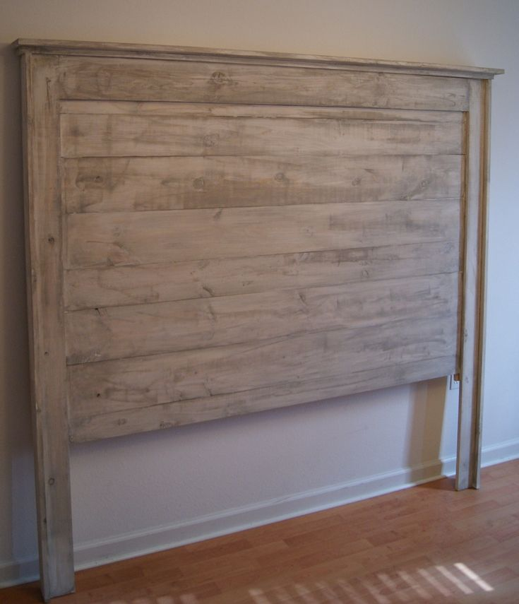 Hand Crafted Shabby Chic Distressed Headboard. Weathered White King Size by JND-LLC | CustomMade.com