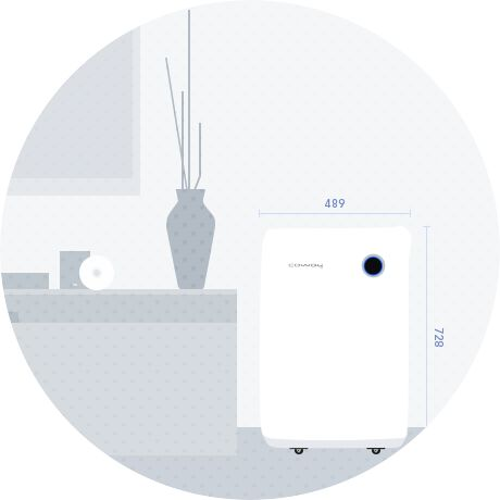 <strong>10ℓ 제습 공기청정기</strong>여성을 배려한 청정기 디자인 — Design Coway