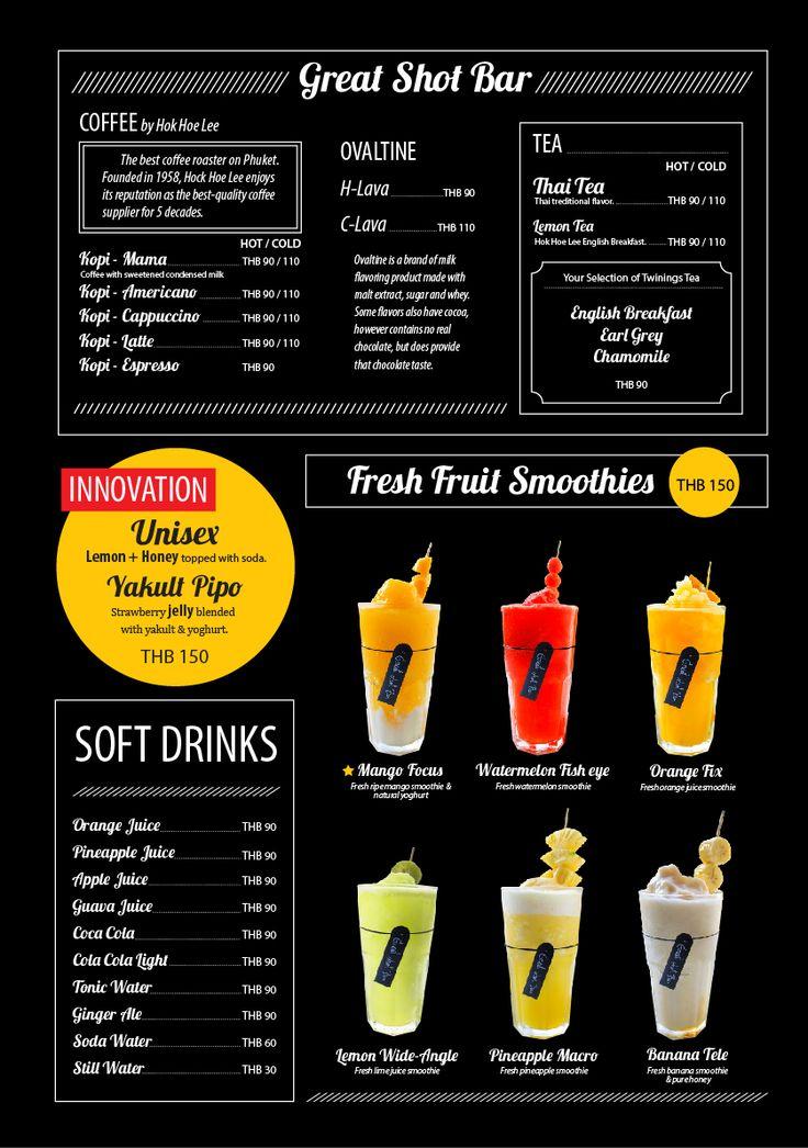 Drink list menu for great shot bar tiffin mama restaurant for Bar 88 food menu