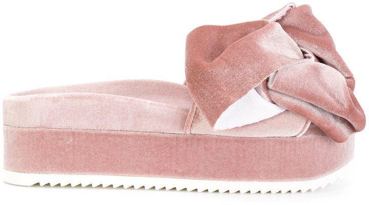 Joshua Sanders Flamingo velvet bow sandals