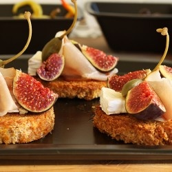 Cheese, fig and ham tapas. Cant wait until my fig tree starts giving me fruit.