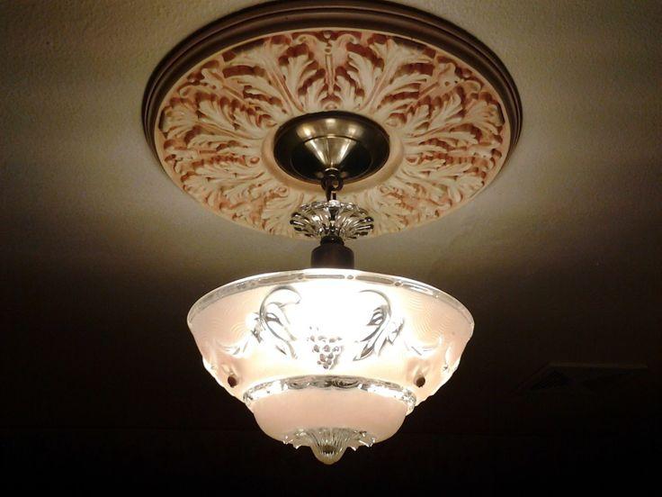 Restored 1920s Vintage Art Deco Pink Glass Flush Mount
