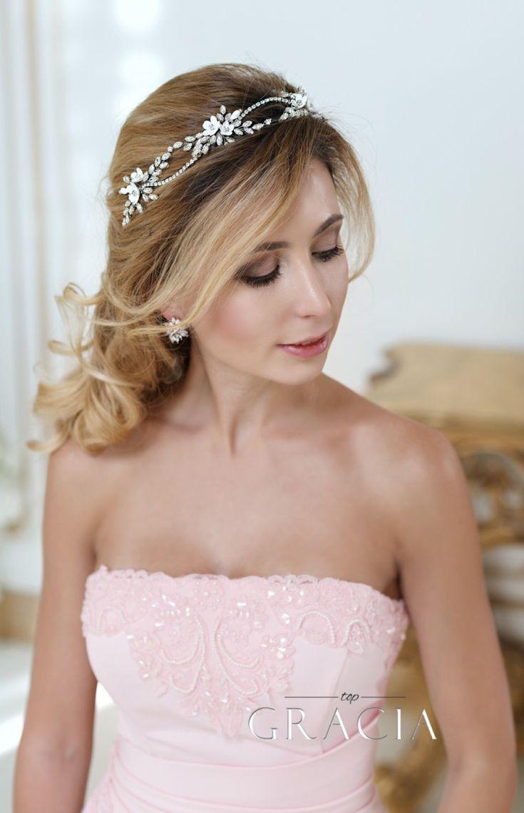 KLEOPATRA Crystal Fower Bridal Halo for Wedding Headband by TopGracia #topgraciawedding #bridalhairaccessories #weddingheadband
