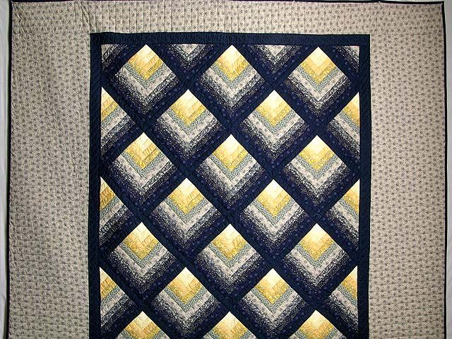 Chevron Log Cabin Quilt -- gorgeous cleverly made Amish Quilts from Lancaster (hs1606)