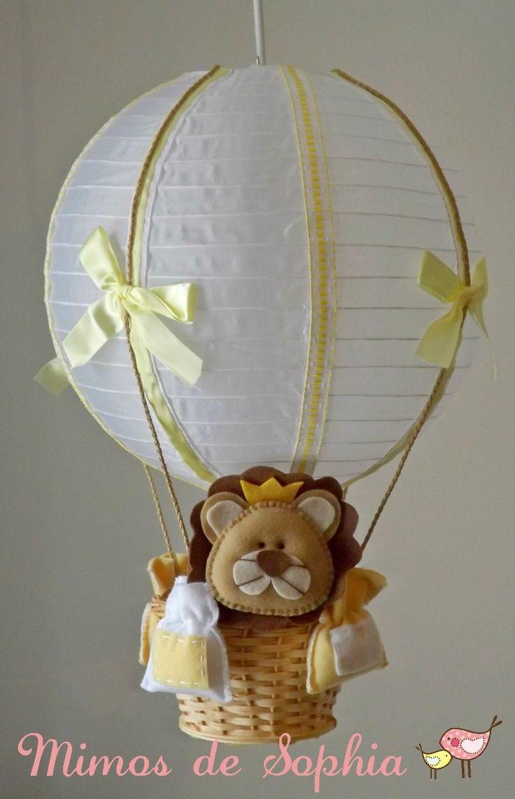luminária lustre balão para quarto bebê ou infantil - safari